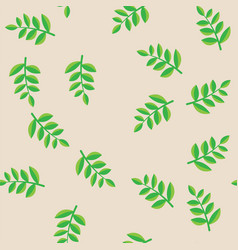 plant branches with green leaves on beige pattern vector image vector image
