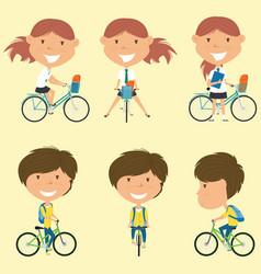 school girls on the bikes vector image vector image