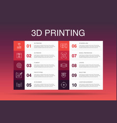 3d printing infographic 10 option template 3d vector