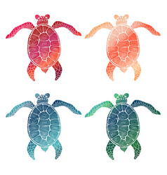 4 gradient hand drawn turtles vector