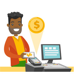 a black man paying at cashbox with his smartphone vector image