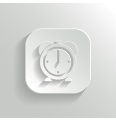 Alarm clock icon - white app button vector image