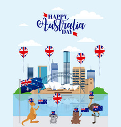 Animals australia day celebration vector