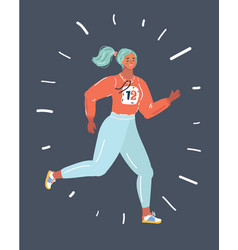 Attractive sportswoman running vector