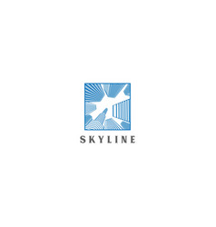 blue skyline logo design vector image