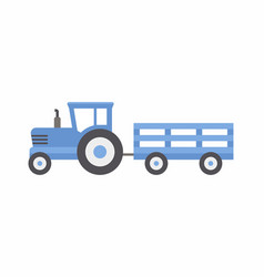 Blue tractor with trailer vector