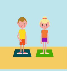 Boy and girl got ready for the physical exercises vector