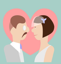 Bride and groom in front of big heart vector