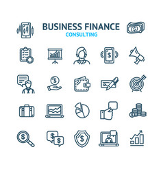 business consulting signs black thin line icon set vector image