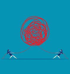 Business people pulling at tangled rope in vector