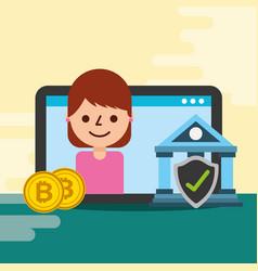 business woman bank bitcoin digital check mark vector image