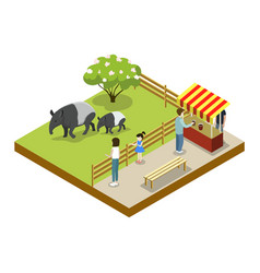 cage with tapirs isometric 3d icon vector image