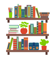 Cartoon color different brown bookshelves on a vector