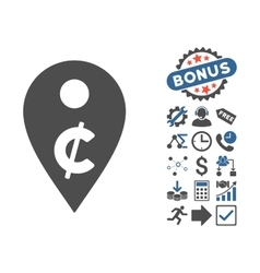 Cent map marker flat icon with bonus vector