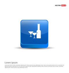 champagne bottles icon - 3d blue button vector image