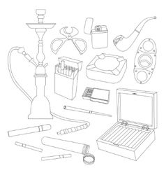 Cigarettes Cigars and Smoking Accessories vector