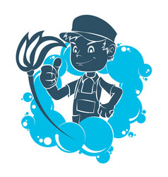 cleaning worker with a tool vector image