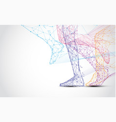 close up of runner s legs run form lines vector image
