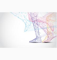 Close up of runner s legs run form lines vector