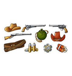 Colored wild west weapons vector