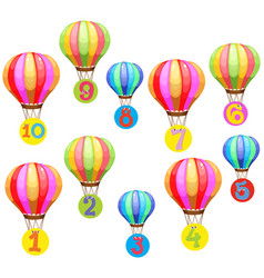 Counting numbers on colorful balloons vector