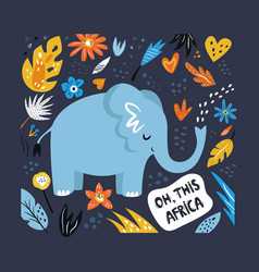 cute hand drawn elephant character with decoration vector image