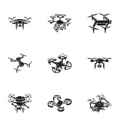Delivery drone icon set simple style vector