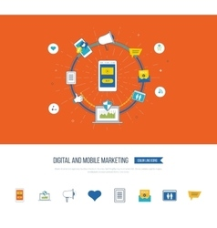 Digital and mobile marketing Social network vector