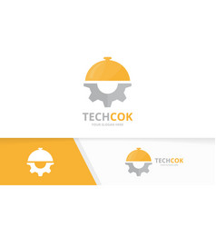 dish and gear logo combination plate and vector image