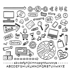 E-commerce sketch icons vector