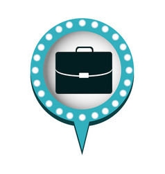 Executive briefcase and circular speech with blue vector