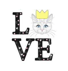 Fashion print with cat face love word with vector