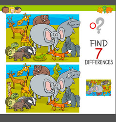 Find differences game with wild animal characters vector