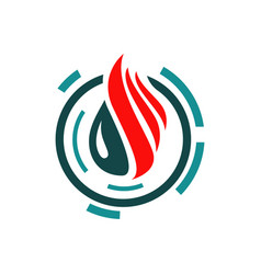 fire and water bio technology logo design concept vector image