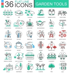 Garden tools modern color flat line outline vector image