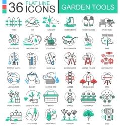 Garden tools modern color flat line outline vector