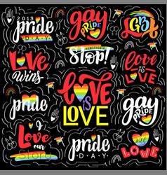 gay lettering phrases big conseptual set vector image