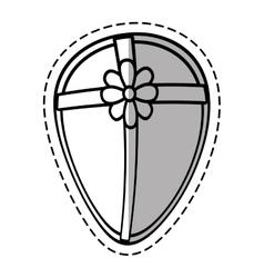 Gift box ribbon traditional decorative egg shape vector