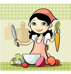 Girl prepares a meal vector