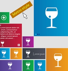 Glass of wine icon sign buttons Modern interface vector