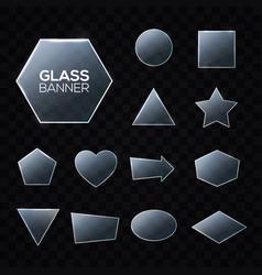 Glass plates set triangle square pentagon circle vector