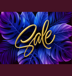 golden metallic summer sale lettering on a purple vector image