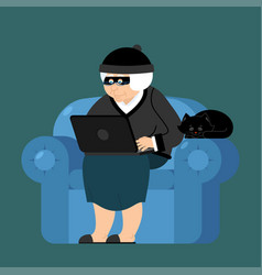 Grandmother hacker sits on an armchair with vector