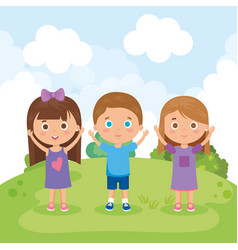 Group of little kids in the park characters vector