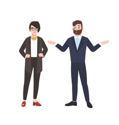 grumpy female boss and male employee isolated on vector image