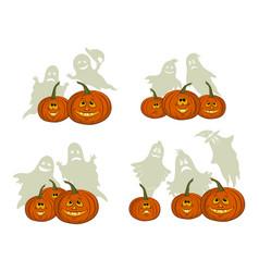 Halloween pumpkins and ghosts vector