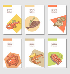 hand drawn sea food cards brochure design vector image