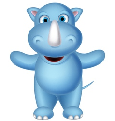 happy baby rhino cartoon posing vector image