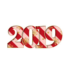 happy new year card red striped number 2019 gold vector image