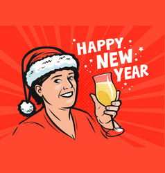 happy new year greeting card pop art retro comic vector image